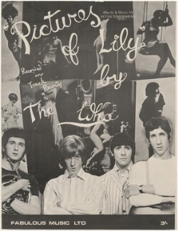 Sheet music cover for 'Pictures Of Lily' by The Who (John Entwistle; Roger Daltrey; Keith Moon; Pete Townshend), published by Fabulous Music Ltd., after  Chris Morphet - NPG D48596