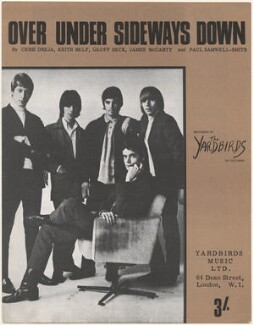Sheet music cover for 'Over Under Sideways Down' by The Yardbirds (Chris Dreja; Jeff Beck; Jim McCarty; Paul Samwell-Smith; Keith Relf), published by Yardbirds Music Ltd., after  Gered Mankowitz - NPG D48598