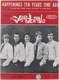 Sheet music cover for 'Happenings Ten Years Time Ago' by The Yardbirds (Keith Relf; Jim McCarty; Jeff Beck; Chris Dreja; Jimmy Page), published by Leo Feist Inc., after  Unknown photographer - NPG D48599