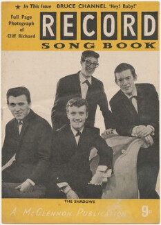 The Shadows on the cover of Record Songbook, April 1962 (Brian Bennett; Jet Harris; Hank Marvin; Bruce Welch), published by Felix McGlennon Ltd., after  Unknown photographer - NPG D48606