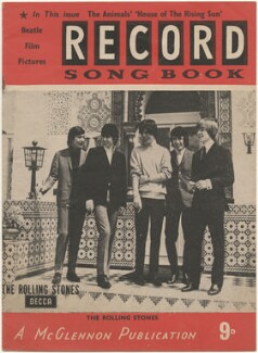 The Rolling Stones on the cover of Record Songbook, May 1964 (Charlie Watts; Keith Richards; Mick Jagger; Bill Wyman; Brian Jones), published by Felix McGlennon Ltd., after  Unknown photographer - NPG D48610