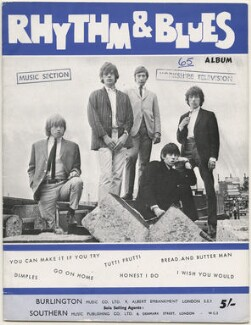 The Rolling Stones on the cover of Rhythym & Blues Album (Brian Jones; Mick Jagger; Charlie Watts; Keith Richards; Bill Wyman), published by Burlington Music Company Limited, after  Unknown photographer - NPG D48617