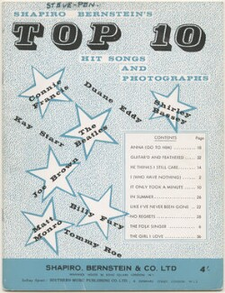 Shapiro Bernstein's Top 10 Hit Songs and Photographs (Shirley Bassey; Tommy Roe; Joe Brown; Connie Francis; The Beatles (Paul McCartney; Ringo Starr; George Harrison; John Lennon); Billy Fury; Kay Starr; Duane Eddy; Matt Monro), published by Shapiro, Bernstein & Co Ltd, after  Unknown photographers - NPG D48618