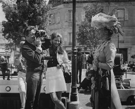 Lord Snowdon, Kathleen Tynan and Katharine Hepburn during the filming of 'The Madwoman of Chaillot', by Unknown photographer - NPG x198413