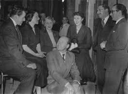 The cast of 'We Beg to Differ' during rehearsals (Bernard Braden; Barbara Mullen; Gladys Young; Roy Francis Plomley; Joyce Grenfell; Gilbert Charles Harding; Richard Afton), by Unknown photographer - NPG x198427