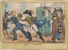 'The Finish' (Sir John Key, 1st Bt; Sir Robert Peel, 2nd Bt; Arthur Wellesley, 1st Duke of Wellington), published by Orlando Hodgson - NPG D48798