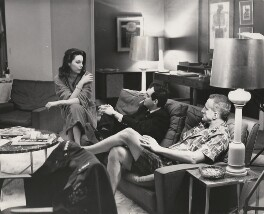 Tracy Reed, Stanley Kubrick and George C. Scott (George Campbell Scott) at Shepperton Studios during a break in the filming of 'Dr. Strangelove or: How I Learned to Stop Worrying and Love the Bomb', by Unknown photographer - NPG x198435