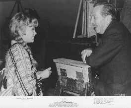 Hayley Mills and Walt Disney during the filming of 'In Search of The Castaways', by Unknown photographer - NPG x198437