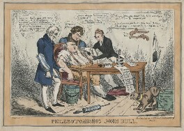 Phlebotomising John Bull, possibly by John Phillips, published by  S. Gans - NPG D48810