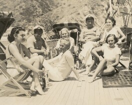 (Evelyn) Grace Poggi; Harry Greene; Charlie Chaplin; Mrs Harry Greene; Joseph Michael Schenck; Margaret La Marr; Paulette Goddard, by Unknown photographer - NPG x198469