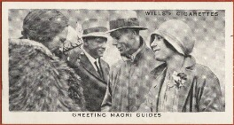 'Greeting Maori Guides' (King George VI; Queen Elizabeth, the Queen Mother; 3 Unknown sitters), issued by W.D. & H.O. Wills, after  Unknown photographer - NPG D47290