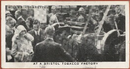'At a Bristol Tobacco Factory' (King George VI; Queen Elizabeth, the Queen Mother; 13 Unknown sitters), issued by W.D. & H.O. Wills, after  Unknown photographer - NPG D47296