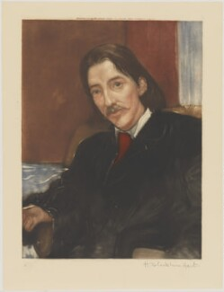 Robert Louis Stevenson, by H. Blackburn Hart, published by  Museum Galleries, after  Sir William Blake Richmond - NPG D49367