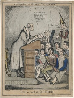 'The School of Reform' (Charles Grey, 2nd Earl Grey; John Singleton Copley, Baron Lyndhurst; Henry Brougham, 1st Baron Brougham and Vaux; Henry Goulburn; Arthur Wellesley, 1st Duke of Wellington; Sir Robert Peel, 2nd Bt and five other unknown sitters), by Charles Jameson Grant, published by  S. Gans - NPG D48845