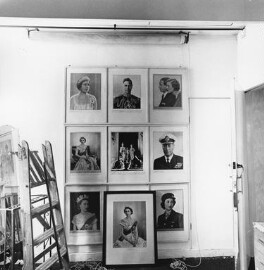 Interior of Dorothy Wilding's last studio and home (wall displaying prints of royal sitters), by John Adriaan - NPG x200898