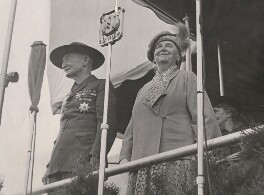 Robert Baden-Powell with Wilhelmina, Queen of the Netherlands as she opens the 5th World Scout Jamboree, by Unknown photographer - NPG x198581
