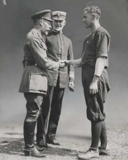 King George V, William Sowden Sims and Lieutenant Mims, by Unknown photographer - NPG x196014