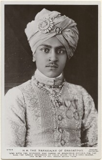 Sir Vrijendra Sawai Kishan Singh Bahadur Bahadur Jang, Maharaja of Bharatpur, by Carl Vandyk, published by  J. Beagles & Co - NPG x196051