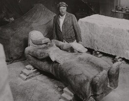 Jacob Epstein with his sculpture 'Consummatum Est', by Unknown photographer - NPG x196136