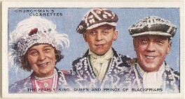 The Pearly King, Queen and Prince of Blackfriars (Mrs Tinsley; Patrick Tinsley; Mr Tinsley), by Mr Douglas, issued by  W.A. & A.C. Churchman - NPG D49175
