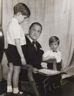 Julian John Somerset Hope, 2nd Baron Glendevon; Somerset Maugham;  Jonathan Charles Hope, 3rd Baron Glendevon, by Madame Yevonde - NPG x201376