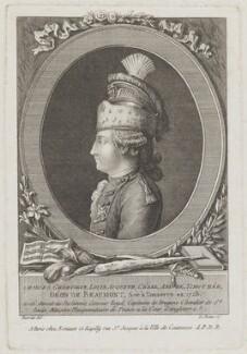 Chevalier d'Eon, by Pierre Adrien Le Beau, published by  Esnauts et Rapilly, after  Claude Louis Desrais - NPG D49409