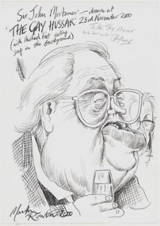 John Mortimer; Michael Foot, by Martin Rowson - NPG D49417