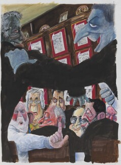 Mug Shots back cover artwork (Martin Rowson; John Wrobel; Charles Rodway Clarke; Richard Ingrams; Ken Livingstone; Jeremy Paxman; Michael Howard; David Blunkett; Keith Spencer Waterhouse; also includes portraits of Will Self; Jon Snow; Robin Cook), by Martin Rowson - NPG D49476