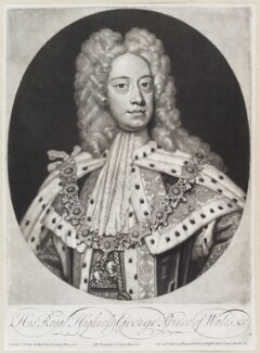 King George II when Prince of Wales, by and published by John Smith, after  Sir Godfrey Kneller, Bt, 1717 (1716) - NPG D11638 - © National Portrait Gallery, London