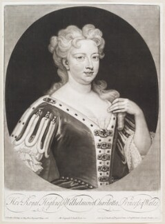 Caroline Wilhelmina of Brandenburg-Ansbach when Princess of Wales, by and published by John Smith, after  Sir Godfrey Kneller, Bt, 1717 (1716) - NPG D11640 - © National Portrait Gallery, London
