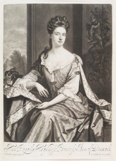 Queen Anne when Princess of Denmark, by and published by John Smith, after  Sir Godfrey Kneller, Bt - NPG D11528