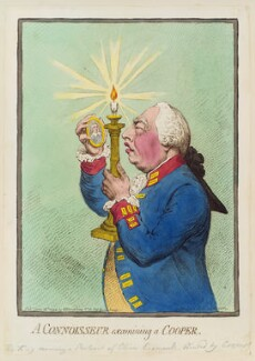 'A Connoisseur examining a Cooper' (Oliver Cromwell (in portrait); King George III), by James Gillray, published by  Hannah Humphrey - NPG D12459