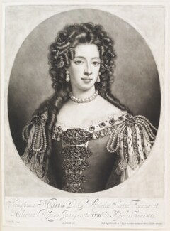 Mary of Modena, by and published by John Smith, after  Sir Godfrey Kneller, Bt, 1703 - NPG  - © National Portrait Gallery, London