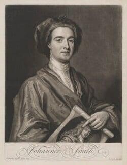 John Smith holding print by John Smith of Sir Godfrey Kneller, Bt, by John Smith, after  Sir Godfrey Kneller, Bt, 1716 (1696) - NPG D1340 - © National Portrait Gallery, London