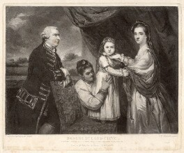 George Clive with his family (Louisa Keppel (née Clive); Sidney Clive (née Bolton) and an unknown woman), by Samuel William Reynolds, after  Sir Joshua Reynolds - NPG D1481