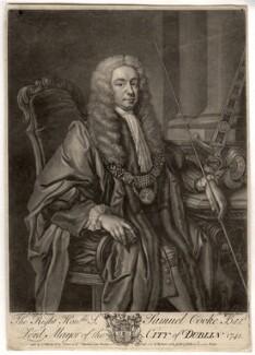 Sir Samuel Cooke, Bt, by John Faber Jr, after  James Latham - NPG D1521