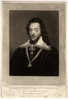 George Clifford, 3rd Earl of Cumberland, by Charles Turner, after  Isaac Oliver - NPG D1607