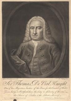 Sir Thomas de Veil, by Thomas Ryley, published by and after  William De La Cour (Delacour) - NPG D1639