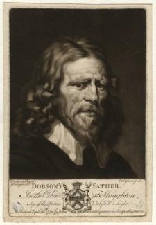 Abraham van der Doort (inscribed 'Dobson's Father'), by Valentine Green, possibly after  William Dobson - NPG D1645