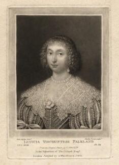 Lettice Cary (née Morison), Viscountess Falkland, by Charles Turner, published by  Samuel Woodburn, after  Cornelius Johnson (Cornelius Janssen van Ceulen) - NPG D1928