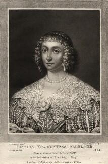 Lettice Cary (née Morison), Viscountess Falkland, by Charles Turner, published by  Samuel Woodburn, after  Cornelius Johnson (Cornelius Janssen van Ceulen) - NPG D1930