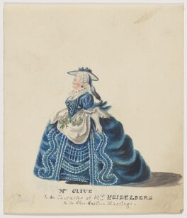 Catherine ('Kitty') Clive (née Raftor) as Mrs Heidelberg in 'The Clandestine Marriage', by Unknown artist - NPG D2111
