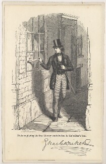 'Dickens placing his first contribution in the editor's box' (Charles Dickens), by Robert Herbert, after  James Stephenson - NPG D2271