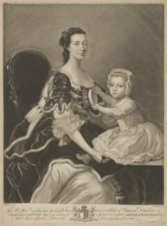 Catherine Perceval (née Compton), Countess of Egmont; Charles George Perceval, 2nd Baron Arden, by James Macardell, after  Thomas Hudson, published 1765 - NPG D2381 - © National Portrait Gallery, London