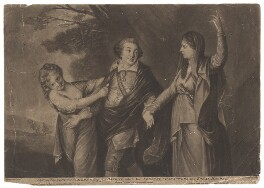 David Garrick ('Strive not Tragedy nor Comedy to Engross a Garrick, who to your Noblest Characters does Equal Honour'), by Richard Purcell (H. Fowler, Charles or Philip Corbutt), printed for  Robert Sayer, after  Sir Joshua Reynolds - NPG D2420