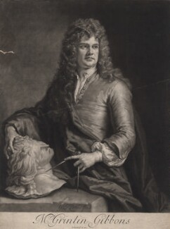 Grinling Gibbons, by John Smith, after  Sir Godfrey Kneller, Bt - NPG D2429