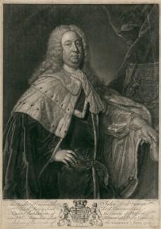John Leveson-Gower, 1st Earl Gower, by John Faber Jr, after  Jean Baptiste van Loo - NPG D2453