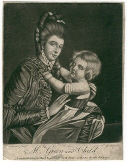'Mrs Green and Child' (Mary Green; Rupert Green), by Valentine Green, published by  Robert Sayer, after  Pierre-Étienne Falconet - NPG D2486