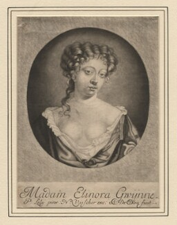 Nell Gwyn ('Madam Elinora Gwÿnne'), by Abraham de Blois, published by  Nicolaes Visscher II, after  Sir Peter Lely - NPG D2543