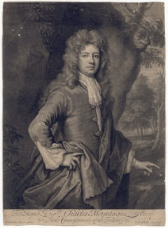 Charles Montagu, 1st Earl of Halifax, by John Smith, after  Sir Godfrey Kneller, Bt - NPG D2557